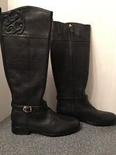 NIB Tory Burch Marlene Riding Boot Tumbled Black Leather 22148399 Size 9.5 9