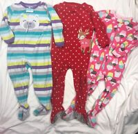 Carters Fleece Blanket Sleeper Pajamas + Romper Playwear Lot Girls 3T Christmas