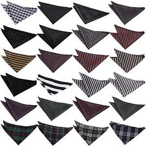 Black Handkerchief Hanky Plain Solid Patterned Floral Polka Stripe Tartan by DQT