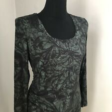 Peruvian Connection Black And Green Ruched Long Sleeved Dress Sz M