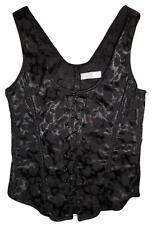 VICTORIA'S SECRET Black Roses Print Stretchy Lace-Up Corset Top MEDIUM