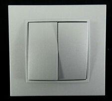 Berker Serienschalter B.7   2 fach (3035)   Abdeckrahmen Kunststoff   Silber