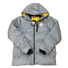 New Nike Men's NFL Pittsburgh Steelers ON FIELD Puffer Jacket Coat 484053 Gray L