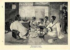 J. Shirataki Häuslicher Musikunterricht in Japan Histor. Druck v. 1903