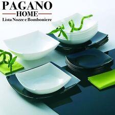 Luminarc servizio piatti per 6 persone 18 pezzi  modello Quadro bianco nero