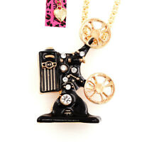 Betsey Johnson Enamel Crystal Film Projector Pendant Sweater Necklace/Brooch Pin