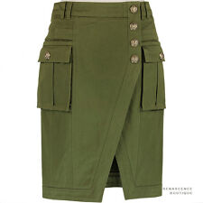 Balmain Khaki Green Gold Buttoned Military Inspired Pencil Skirt FR38 UK10