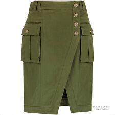 Balmain vert kaki or boutonnée style militaire jupe crayon FR38 UK10