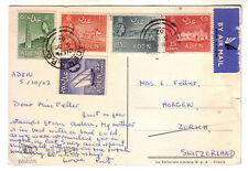 """ADEN 1962 MULTI FRANKED """"M/S EUROPA"""" SHIP POSTCARD AIR MAIL TO SWITZERLAND"""