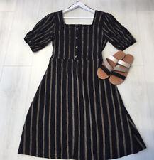 F&F Sz 20 Black & Gold Crepe Dress Fit Flare 50's Style