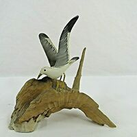 Flying Seagull Bird Figurine on Driftwood Handcrafted Hand Painted Vintage