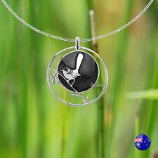 One Black Enamel Blue Wren Desinger Necklace Pendant