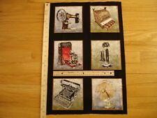 Vintage Sewing Machine Phone Cash Register (A) Cotton Quilt Fabric Panel Blocks