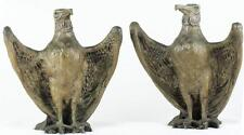 "Antique 19th Century 10"" Pair/Twin Stylized Eagles Bronze Architectural Statues"