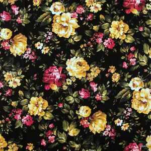Romantic Cottage Roses on Black Fabric Shabby Chic Floral Fabric t1/39