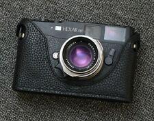 Leather Konica Hexar Rangefinder Black with Black Stitching Half Case