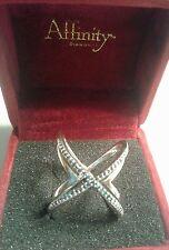 Affinity Diamond 1/4 Carat Blue Pave Diamond Sterling Silver, Ring SIZE 7