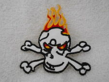 Skull And Cross Bones With Flames Used Sew On Name Patch Tag