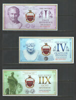 2018 ROMAN EMPIRE FANTASY CRISP NEW CURRENCY SET 1 + 4 + 8 + 20 + 50 + 100