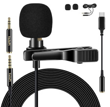 """CLIP ON MICROPHONE Lapel Lavalier Condenser Mic 79"""" TypeC Adapter Extension Cord"""