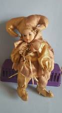 Clown Music Box Doll in Gold w/ Porcelain Head & Hands;Plays Send in the Clowns