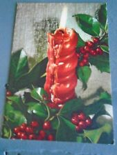 Vintage 1960s Christmas card Red burning candle drip holly berries Hallmark Mcm