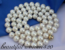 "z1072 34"" 13mm round white fw pearl necklace 14k gold"
