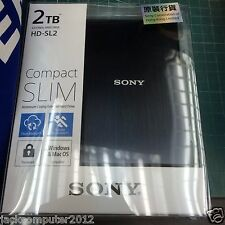 New Sony HD-SL2 Slim External Portable Hard Drive 2TB 2 TB for Mac Windows Black
