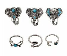 ✨6PCS Turquoise Elephant Boho Midi Knuckle Rings Set Fashion Jewellery Adjust 🐘