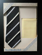 BHS LONDON Polyester BLACK STRIPED Tie & 2 LEMON Cotton Handkerchiefs