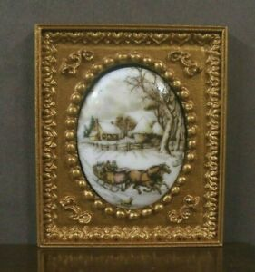 """FRAMED  FIRED  PORCELAIN  PICTURE ~ """" Winter Scene """" ~Dollhouse ~ 1:12 scale"""