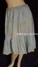 New Cotton Tier Skirt Gold Print Beach Boho Hippie Yoga Organic M Pale blue