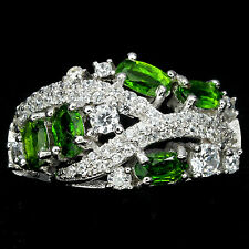 ELEGANT NATURAL 5x3mm. TOP RICH GREEN CHROME DIOPSIDE & CZ 925 SILVER BAND RING8