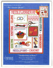 Cross Stitch Chart Pack ~ Candamar Needleworker at Heart Craft Sampler #51452