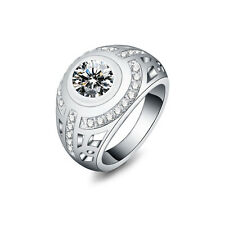 Engagement Jewelry Silver Plated Crystal Ring Circular Rhinestone
