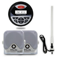 "4"" Marine Gauge AM/FM Bluetooth Stereo Radio+4""Surface Mount Box Speakers+Aerial"
