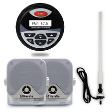 "Marine Gauge AM/FM Bluetooth Stereo Radio+4""Surface Mount Box Speakers+Aerial"