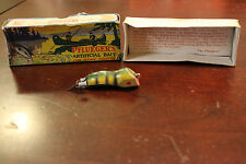 "Rare Early Pflueger Wizard Wood Lure W 4707 Nat Chub Box Painted Eye 3"""