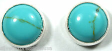 Real 6mm Round Kingman Turquoise 925 Sterling Silver Stud Earrings - Made in USA
