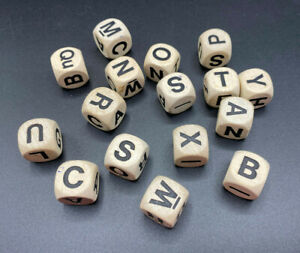 16 Letter Wood Cubes for Boggle Word Search Game