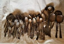SILVERPLATED IS FLATWARE FOR CRAFTING USABLE 123 PIECES LOT