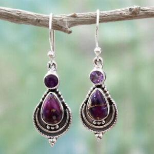925 Silver Turquoise Retro Drop Hook Earrings For Women Dangle Jewelry Gift Boho