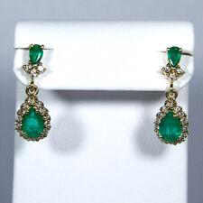 Elegante Damenohrstecker (585er Gold) mit Smaragden und Brillanten