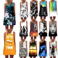 Women Summer Day 3D Print Vintage Boho Bohemian Dress Sundresses Beach Dress H