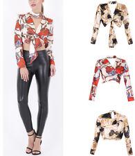 New Women Baroque Print Plunge V Neck Tie Front Choker Blouse Crop Top 8-16 UK