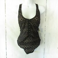 New $68 Intimately Free People Bodysuit S Thank You Never Black Nude Laser Cut