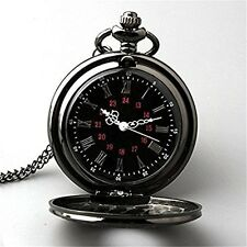 Topwell Black Pocket Watch Roman Pattern Steampunk Retro Vintage Quartz Roman