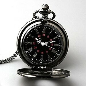 Topwell Black Pocket Watch Roman Pattern Steampunk Retro Vintage Quartz Roman