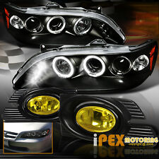 2001-2002 Honda Accord 4Dr Halo Projector LED Black Headlights+Yellow Fog Light