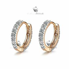 18k white yellow gold gf made with Swarovski crystal huggies earrings classic